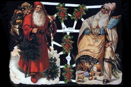 Santas Two - Red & White - Christmas Scraps (Reproduction)