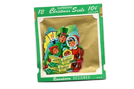 Assortment of 12 Christmas Carolers Gummed Seals Authentic Vintage Dennison Superfine