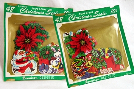 Authentic Vintage Dennison Superfine Assortment of 48 Christmas Gummed Seals