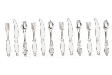 4 Place Settings of Mini Silverware (Knife, Fork, Spoon)
