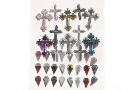 3D Gems Stickers - Crosses & Teardrops