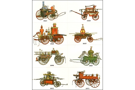 Vintage Sticker Sheet of 8  Different Vintage American Fire Engines (Embossed and Die-Cut)
