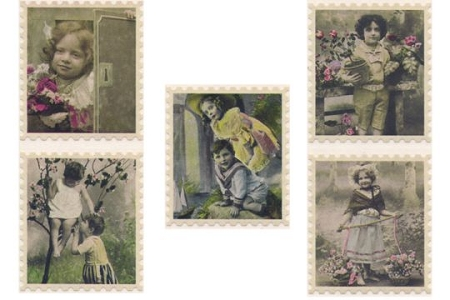 Stickers of Vintage French Postcards of Children