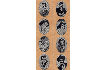 Super Rare Unused Original Strip of Hollywood Celebrities from the 1950s - Now Full Strip (8 Stickers)