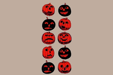 Embossed & Die-Cut Black and Orange Jack o' Lantern Stickers (B Shackman)