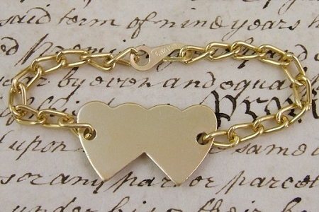 Novelty Golden Metal Double Heart ID Tag or Bracelet