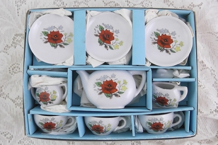 Vintage Toy China Tea Set in Original Box