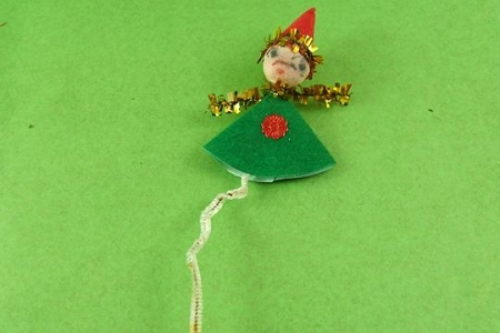 Vintage Tarnished Shabby-Chic Green Elf Package Tie-On