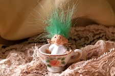 Tiny Troll in Teacup (Vintage)