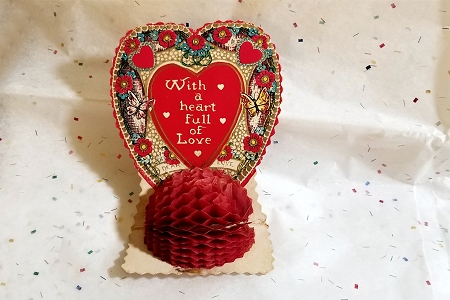 Lovely Vintage HONEYCOMB Valentine - With a Heart Full of Love