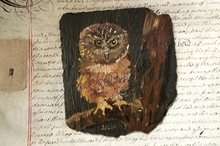 Owl Painting on Natural Slate