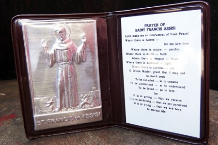 Saint Francis of Assisi Aluminum Ex Voto Wallet with Prayer