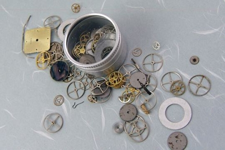 Mostly Vintage Watch Parts in Mini Glass-Topped Tin