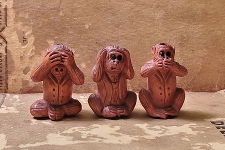 Wise Monkey Bead Set  - See, Hear, Speak No Evil