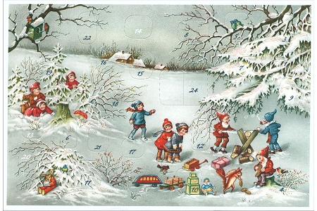 Children Watching Gnomes Hard at Work Advent Calendar Note Card