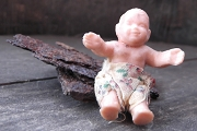 Vintage Mini Rubber Baby Doll with Diaper