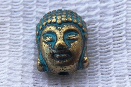 Heavy Patinaed Antiqued Brass Buddha Head Bead