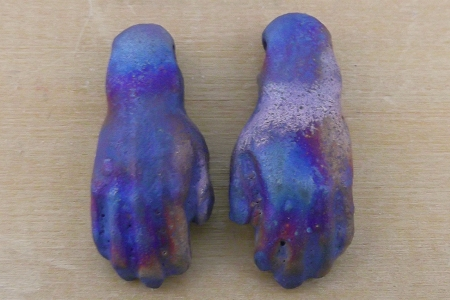 Mini Matte Raku Hands Bead Set - 1 Left & 1 Right
