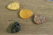 Set of 4 Hand Carved Jasper Leaf Beads