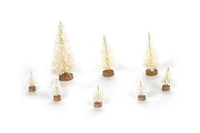 Set of 8 White Bottle Brush Trees with Snow