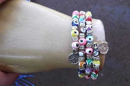 Colorful Spiral Glass and Metal Evil Eye Bracelet