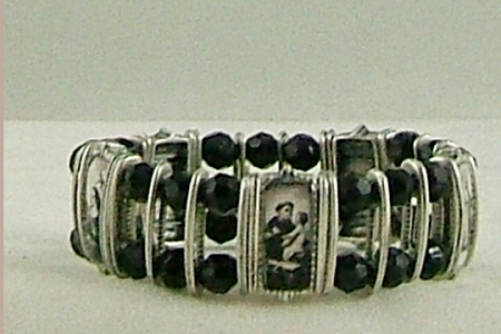 Elegant Silver & Black Crystal Saints Bracelet - One Size Fits Most