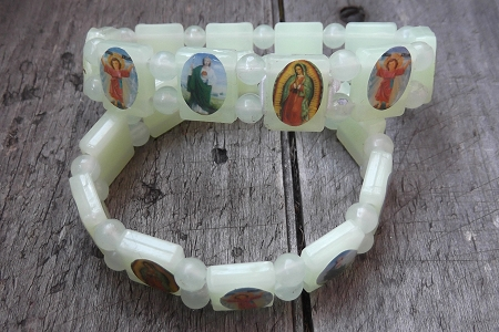 Glow in the Dark Stretch Bracelet featuring Images of Saints and Other Religious Symbols
