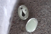 Oval Glass Cabochon with Glow in the Dark Cat Image