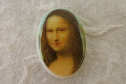 Tiny Vintage Composition Mona Lisa Portrait Cabochon