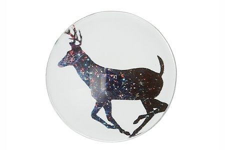 Round Glass Domed Reindeer Cabochon