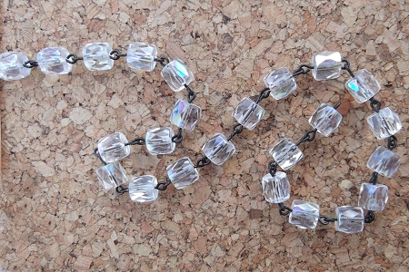 Crystal Faceted Log Glass Beaded Rosary Chain by the Inch