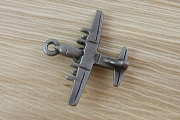 Vintage Aged Matte Silver Metal Propeller Airplane Charm