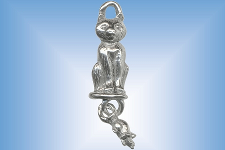 Silvery Cat Charm With Toy Mouse