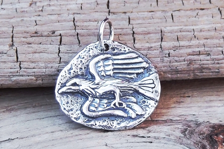 Silver Plated Crow or Raven Coin Charm