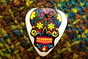 Reversible Day of the Dead Sugar Skull Guitar Pick Charm