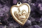 Vintage Brass Heart Charm with Crown Insignia