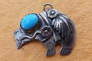 Vintage Signed Sterling Silver & Turquoise Spirit Bear Charm