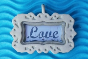Cream Enameled Love Frame Charm