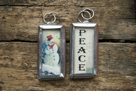 Snowman and Peace Refersible Shabby Chic Rectangle Charm or Pendant