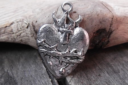 Stunning Pewter Sacred Heart Pendant or Charm