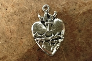 10 Shiny Pewter Sacred Heart Pendants or Charms