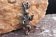 Large Antiqued Bronze 3-Dimensional White Rabbit Pendant or Charm