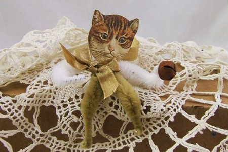 Chenille Cat with Brown Body and White Arms Ornament