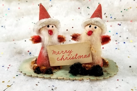 Cute Little Vintage Santa Duo with Merry Christmas Sign
