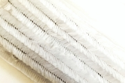 One Dozen Fluffy White 12 mm Chenille Stems