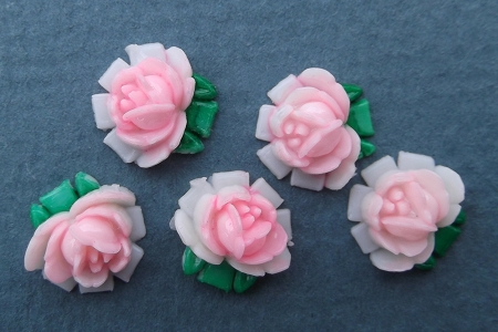 Vintage Tiny Celluloid Pink Rose Component