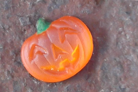 Tiny Orange Jack-o'Lantern Glass Component