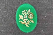 Vintage Green Cabochon with Metallic Golden Rose