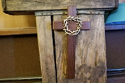 Large Elegant Wooden Cross with Golden Crown of Thorns