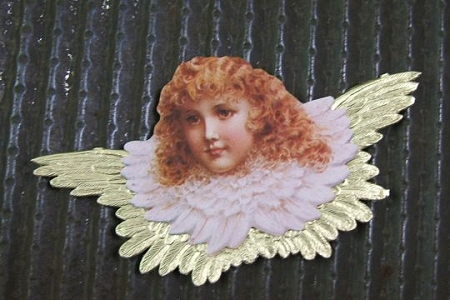 Victorian Angel Scrap with Heavy Embossed Gilded Dresden Wings (Reversible)